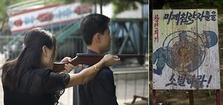 North Korean woman shooting on an target with an american soldier, Pyongan Province, Pyongyang, North Korea
