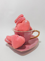 Heart-shaped Strawberry Macarons! (I'm a sea) Tags: heart shaped valentine macarons strawberry french macaron cookie gluten free food dessert eat me pink teacup tea cup berry pretty pastry