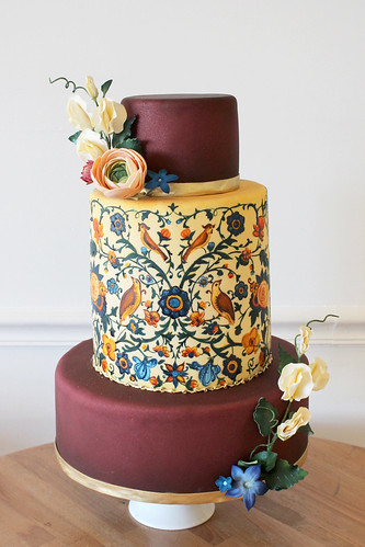 Fall Painted Birds Burgundy Wedding Cake