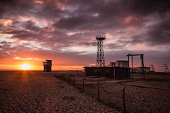 Dungeness sunset (2 of 1) (selvagedavid38) Tags: dungeness kent beach shingle coast look out tower fog signal clouds sky shore building