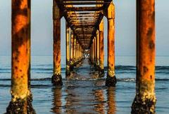 adriatic perspectives (lucafabbricesena) Tags: adriatic sea perspective pier water cesenatico emiliaromagna italy sunset beach sky horizon light blue wood pole nikon d800