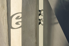 'Surmise' (Canadapt) Tags: wall shadow angle abstract wrought iron white loures portugal