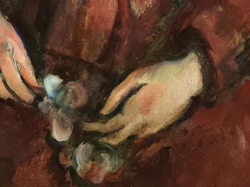 CEZANNE,1888-90 - Portrait de Madame Cézanne en rouge (Sao Paulo) - Detail r