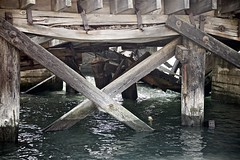 Under Old San Francisco Bay Pier (sswj) Tags: water bay oldpier oldwoodpier sanfranciscobay presidoyachtclub fortbaker sausalito marincounty northerncalifornia california composition naturallight existinglight availablelight dslr fullframe abstractreality nikon d600 nikkor28300mm weathered scottjohnson
