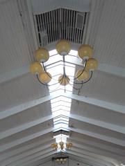 Warrenville, IL, St. James Farm, DuPage County Forest Preserve,  Indoor Riding Arena, Ceiling Detail (Mary Warren 9.8+ Million Views) Tags: warrenvilleil stjamesfarm dupageforestpreserve farm architecture building arena ceiling lamps