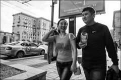dr150904_1650d (dmitryzhkov) Tags: street moscow people russia streetphotography documentary urban life human social public photojournalism reportage dmitryryzhkov bw blackandwhite monochrome face portrait streetportrait conversation speak talk couple two everyday candid stranger