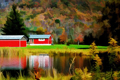just one of those days... (elle Q1) Tags: fall autumn landscape filters post processed original digital image bright colors hills pond red buildings reflections nature season trees water golden