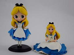 Q Posket vs Crystalux Alice Vinyl Figures by Banpresto - Side by Side - Full Front View (drj1828) Tags: crystalux alice aliceinwonderland animated vinyl figurine banpresto crane claw prize japan deboxed qposket