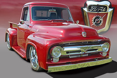 55 Ford Custom Pickup (Brad Harding Photography) Tags: 1955 55 ford pickup truck olmaraisriverruncarshow gardner kansas chrome fordmotorcompany f100 utility photoshop red badge emblem