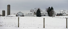 Amish homes-farms (WORLDS APART PHOTO) Tags: shipshewana indiana amish cultural agricultural snowscenes snow rural outdoors windmills windmillwednesday white winter southbend farming fence