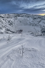 Kerid Volcanic Crater Lake, Grímsnes, Golden Circle, Iceland (MelvinNicholsonPhotography) Tags: kerid keridvolcaniccraterlake volcano grímsnes goldencircle iceland ice crater rock lava winter dusk