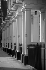 Dans les beaux quartiers -**--+ (Titole) Tags: london columns repetition titole nicolefaton blackandwhite noiretblanc bw nb warwicksquare fence entrance architecture numbers pimlico stgeorgesdrive perspective thechallengefactory 15challengeswinner storybookwinner