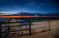 Icy Wall (T P Mann Photography) Tags: cold exposure long michigan sea lake sky sundown evening dusk night lighthouse light shore pier wall icy ice