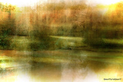 Lake Abstract (Brigitte Graf) Tags: blur abstract colour color art composing manipulation motion autumn herbst licht light lake see munich münchen lichtung clearing water tree bäume morning sun morgen sonne photoshop creative digital photo foto artistry work surreal mystic landscape