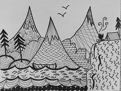 Camping zentangle (New Expressions by the Old Christine) Tags: meditation art sharpie blackandwhite writing zentangle