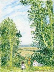 D'après Pissaro (Loran de Cevinne) Tags: peinture france artwork lorandecevinne dessin arbres loran pastel pastelàlhuile pissaro panorama paysage campagne personnages