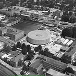 1961 bird's eye view of Harrelson Hall and the University Plaza.