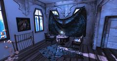 Living Room (☢.:Myth:.☢) Tags: secondlife sl livingroom house home forest woods fortune globe crystalball window