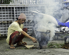 Pots Boiled (Beegee49) Tags: street man pot boiling wate steam bacolod city philippines