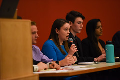 SGA Debates 2018-14 (dailycollegian) Tags: carolineoconnor sga debates hosted by collegian commonwealth honors college events hall event roots candidates for president vice trustee sarah nordberg