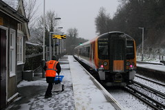 Godalming UK  |  2018 (keithwilde152) Tags: br class444 emu godalming uk 2018 station town platforms tracks passenger train buildings architecture people staff electric multiple units outdoor winter snow