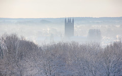 Canterbury Cathedral in the mist and snow, Another cold beautiful snowy day at University of Kent (Jim_Higham) Tags: he university excellent teaching research gold tef england christmas card calendar