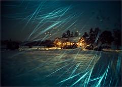 Through the Snowstorm (janos radler) Tags: cottage finnland snow winter night storm