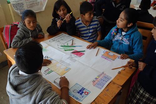 Puis la séance s'est poursuivie avec des dessins collectifs du village, où chacun a dû s'organiser pour savoir ce qu'il allait dessiner