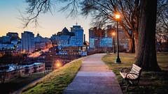 Cross the rooftops (Sky Noir) Tags: richmond va virginia blue hour overlook park bench vcu walkway sidewalk street light winter rva