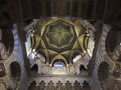Mihrab dome, La Mezquita (Great Mosque) of Córdoba (Anita363) Tags: lamezquita mezquita mosque mosque–cathedralofcórdoba mosquecathedralofcórdoba mezquitacatedraldecórdoba greatmosqueofcórdoba architecture building moorish umayyad córdoba andalucía andalusia spain españa unescoworldheritagesite interior mihrab qibla dome octagonal mosaic gilt gold plaster arch arcade horseshoearch trefoilarch multifoilarch vault ceiling yesería