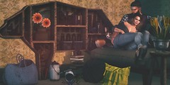 Hold On (kyreneglendevon) Tags: liam zander bamse lode aria neva crystall nutmeg kal rau halogen magic half deer mochi vespertine truth hawks mesh hair harry hyx fashion clothing blueberry river stromfield decor book case chair bookcase bear shiny shabby mens dept arcade gacha second secondlife life virtual world catwa lelutka maitreya poses rk keon