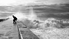 Running man (kalbasz) Tags: run man ocean sea water moment fuji xt2 xf1024 portugal porto weather wave jetty movement black white blackandwhite aoi elitegalleryaoi bestcapturesaoi