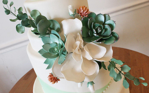 Sugar Succulents Up Wedding Cake