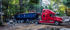 2018 - Mexico City - Condesa Road Work (Ted's photos - For Me & You) Tags: 2018 cdmx cityofmexico cropped mexico mexicocity nikon nikond750 nikonfx tedmcgrath tedsphotos tedsphotosmexico vignetting truck dumptruck streetscene street wheels red redrule people peopleandpaths callecerrada semi rig widescreen wideangle