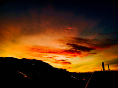 Sunset❞ (<lisvgrvce) Tags: sunset sky orange yellow red cars landscape peace