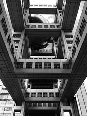 Fuji TV Building, Odaiba, Tokyo (gt223) Tags: bw blackandwhite architecture modernarchitecture modern metal urban city fujitvbuilding fujitv tokyo odaiba