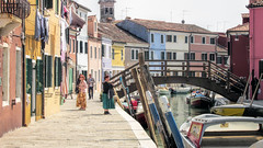 Burano (dckellyphoto) Tags: 2014 italy italia veneto venice venetia venezia europe burano canonpowershotsx160is woman women man lise bright sunny color colroful water canal bridge boat boats houses house
