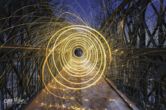 Keep Going, Spiral Out (wilbias) Tags: light beam luminous abstract steel wool winter snow night long exposure moon hamilton rail trail bruce ontario canada niagara escarpment