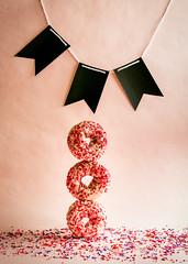 balancing donuts (auntneecey) Tags: balancing donuts three celebration notinlove 365the2018edition 3652018 day33365 02feb18 experimenting flash flashfriday balance threesacrowd