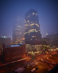 Foggy morning (Denverphotoscapes) Tags: ~photography ~typeofphotography architecturalphotography phaseone captureone worldregionscountries northamerica unitedstatesofamerica colorado denver iq3100 onlyindenver ~what ~naturalphenomenon weather fog bluehour ~attribute ~timeofday sunrise