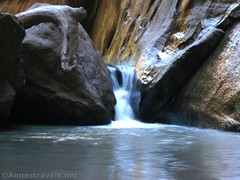 Another little waterfall in Orderville Canyon (Annes Travels) Tags: zionnationalpark utah zionnarrows canyon waterfall desert