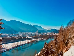 Winter view over Kufstein, Tyrol, Austria, with The Alps and the river Inn (UweBKK (α 77 on )) Tags: winter view cold snow sky blue kufstein austria tyrol tirol österreich alps mountains river inn valley clear iphone europe europa