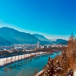 Winter view over Kufstein, Tyrol, Austria, with The Alps and the river Inn thumbnail