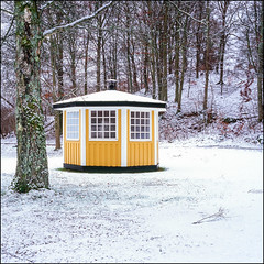Yellow Gazebo - Velvia 100 exp* (magnus.joensson) Tags: sweden swedish skåne skäralid snow winter december rolleiflex 35 fuji velvia 100 6x6 exp2007 zeiss 75mm tessar epson v800 scan