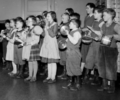 All in tune today (theirhistory) Tags: children boy kids school group form class music band drum trousers jumper shirt shoes wellies wellingtons play