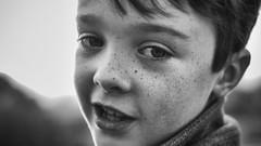 Alfie (markfly1) Tags: alfie son boy close up portrait black white mono freckles sunset sundown light shade dark bright eyes nose ears
