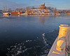 The island Kastellholmen and icy waters in Stockholm, as seen from the commuter boat Hättan (Franz Airiman) Tags: is ice winter saltsjön kastellholmen island ö stockholm sweden scandinaia isflak icefloe vinter minusgrader