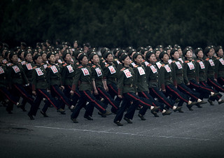 North Korean women military parade in the street, Pyongan Province, Pyongyang, North Korea
