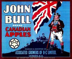 John Bull Apples -- 1930s (JFGryphon) Tags: johnbullapples associatedgrowersofbcltd vernonbritishcolumbia canadianapples appplecratelabel fruitboxlabel applelabel apples canaps johnbull