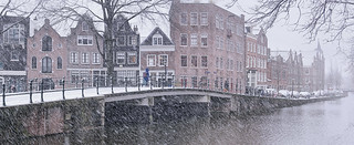 Snow storm hits the heart of Amsterdam